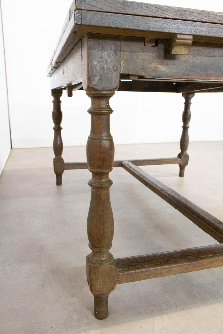 French Extending Dining Table Carved Oak, 19th Century For Sale 8