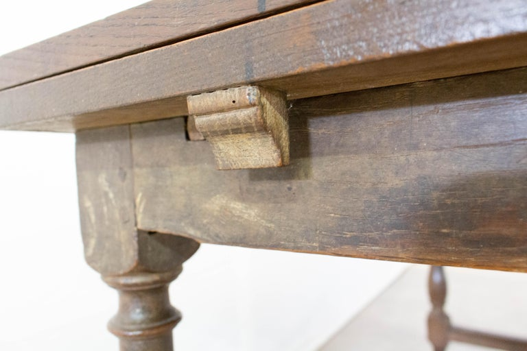French Extending Dining Table Carved Oak, 19th Century For Sale 10