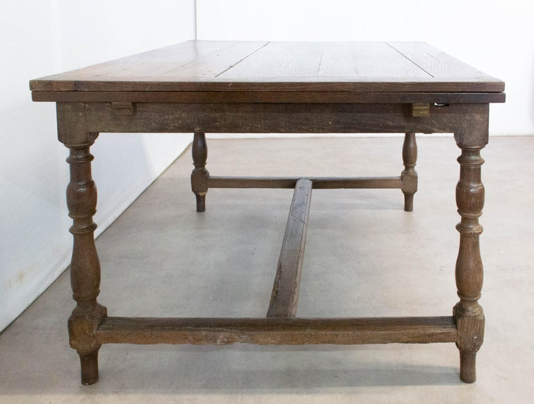French Provincial French Extending Dining Table Carved Oak, 19th Century For Sale