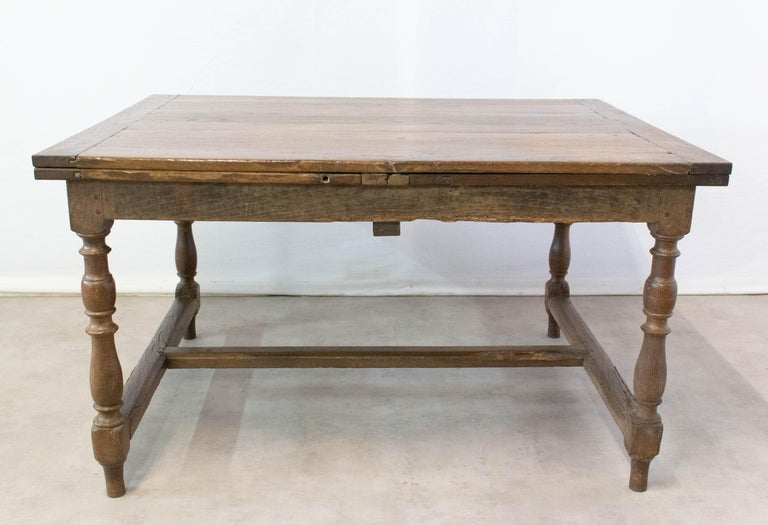 French Extending Dining Table Carved Oak, 19th Century In Good Condition For Sale In , South West France