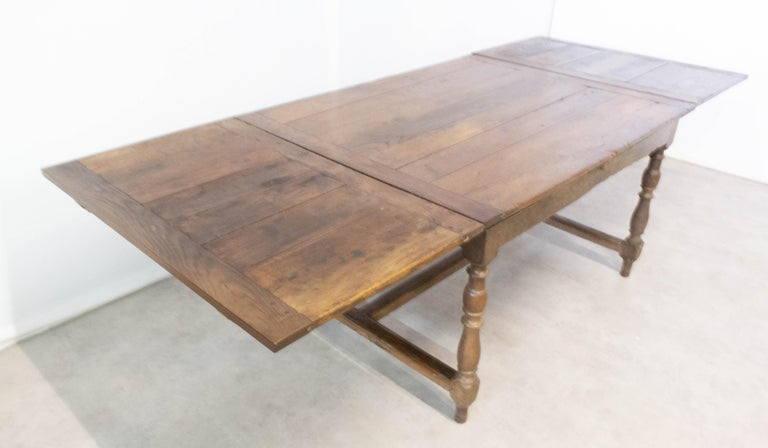 French Extending Dining Table Carved Oak, 19th Century For Sale 1