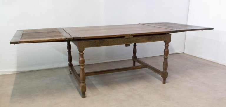 French Extending Dining Table Carved Oak, 19th Century For Sale 4