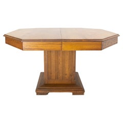 French Extending Dining Table Square Pedestal Oak, circa 1940