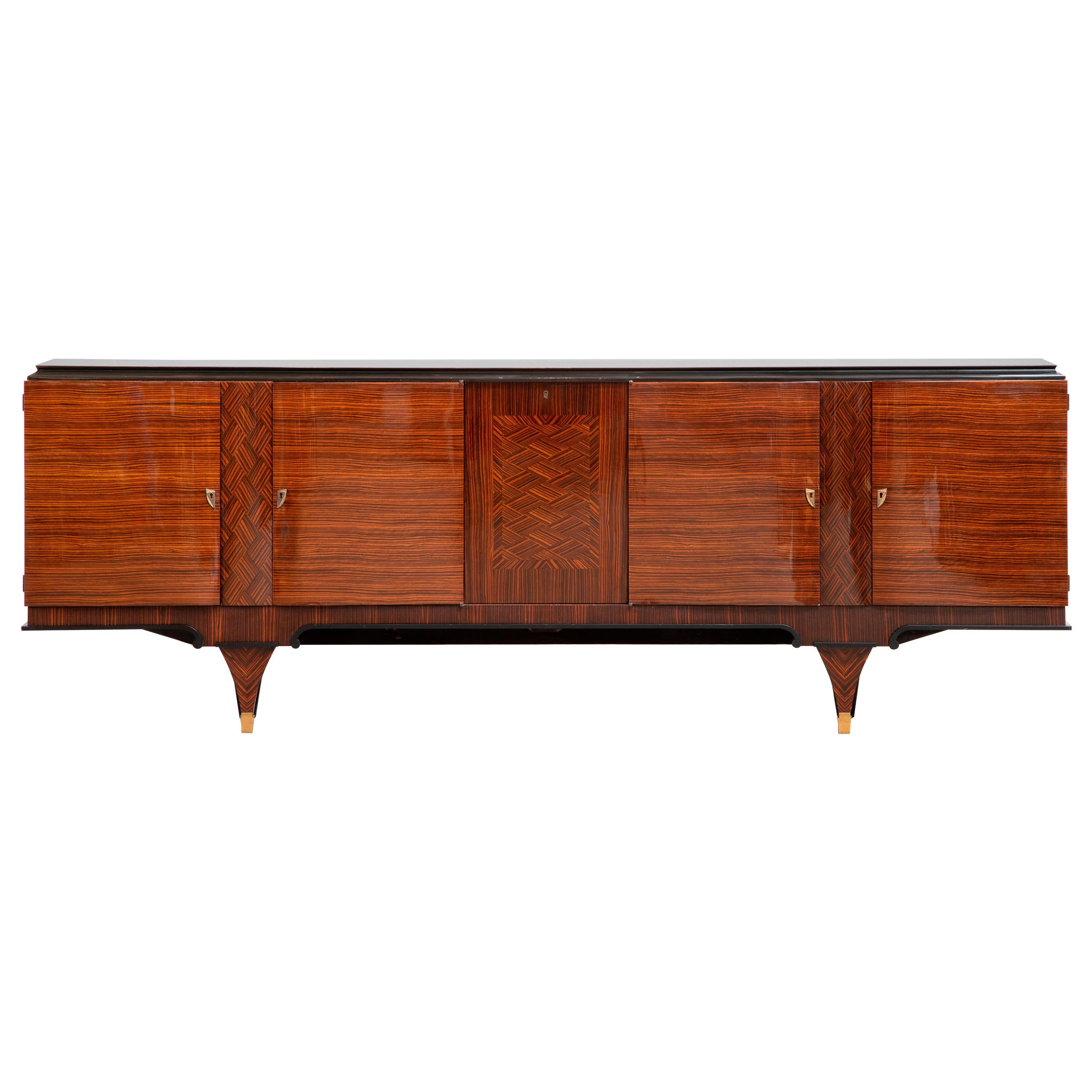 French Extra Large Art Deco Sideboard Macassar, 1940s