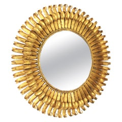 French Eyelash Round Sunburst Mirror in Gold Leaf Gilt Wrought Iron, 1950s