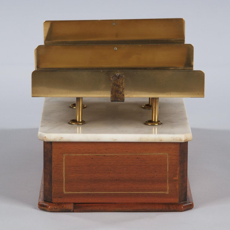 French Fabric Store Scale in Walnut with Marble Top, 1900s For Sale 10