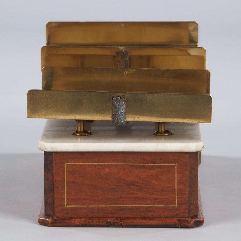 French Fabric Store Scale in Walnut with Marble Top, 1900s For Sale 3