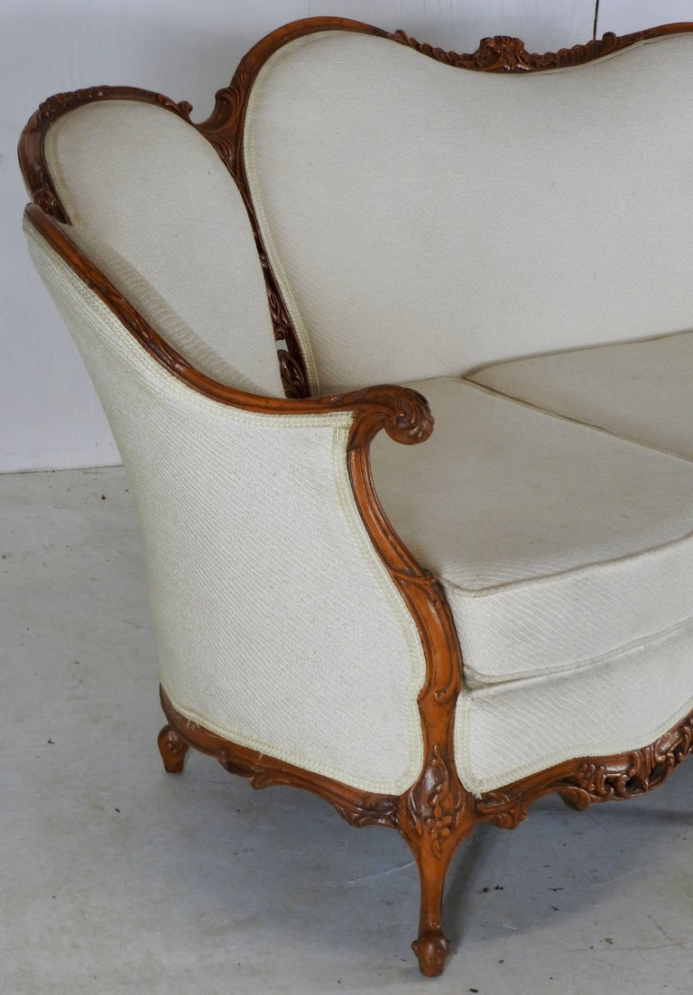 Hand-Carved French Fabric with Wood Sofa Victorian For Sale