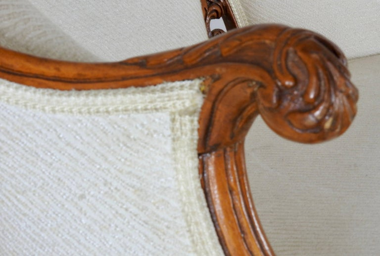19th Century French Fabric with Wood Sofa Victorian For Sale