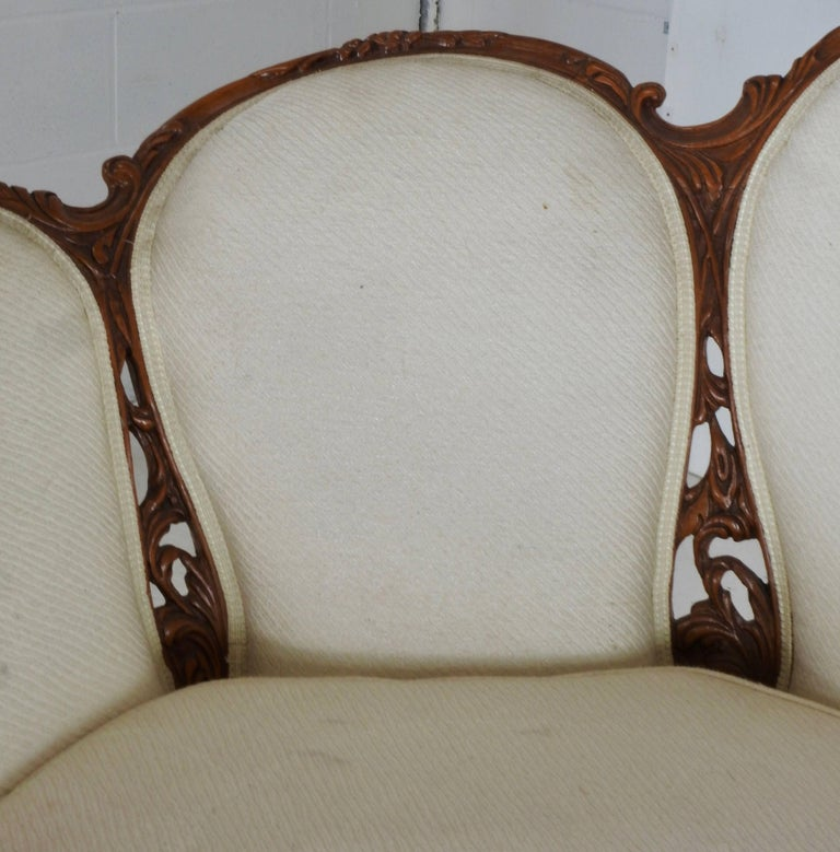 French Fabric with Wood Sofa Victorian For Sale 3