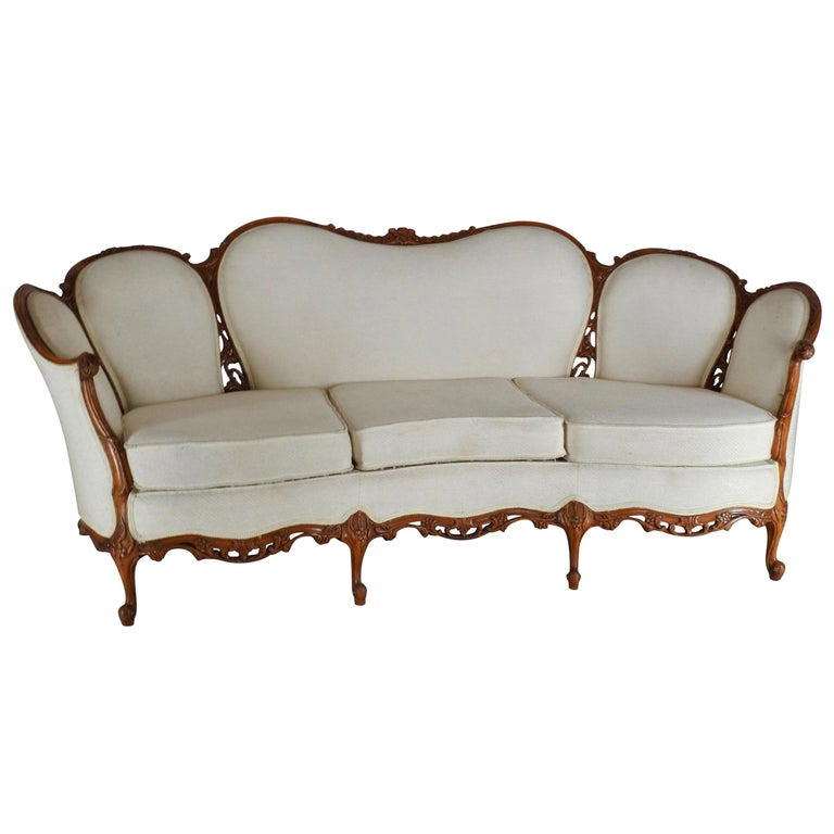 French Fabric with Wood Sofa Victorian For Sale
