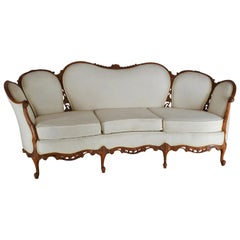 French Fabric with Wood Sofa Victorian