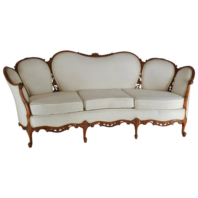 French Fabric With Wood Sofa Victorian For Sale At 1stdibs