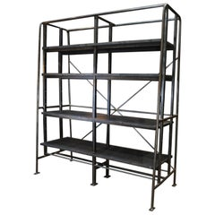 French Factory Large Shelf circa 1950 in Oak and Iron
