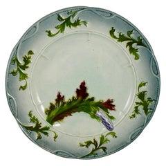 French Faïence Barbotine Majolica Art Nouveau Blue Asparagus Plate