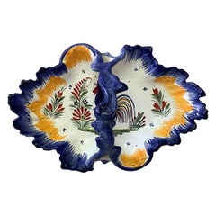French Faience Basket With Rooster Quimper