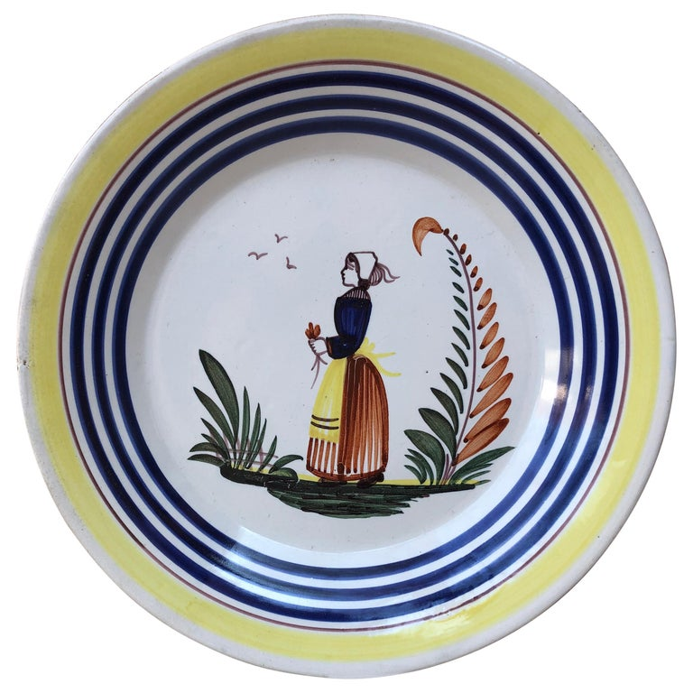Mid-20th Century French Faience Bird Plate Henriot Quimper, circa 1930 For Sale