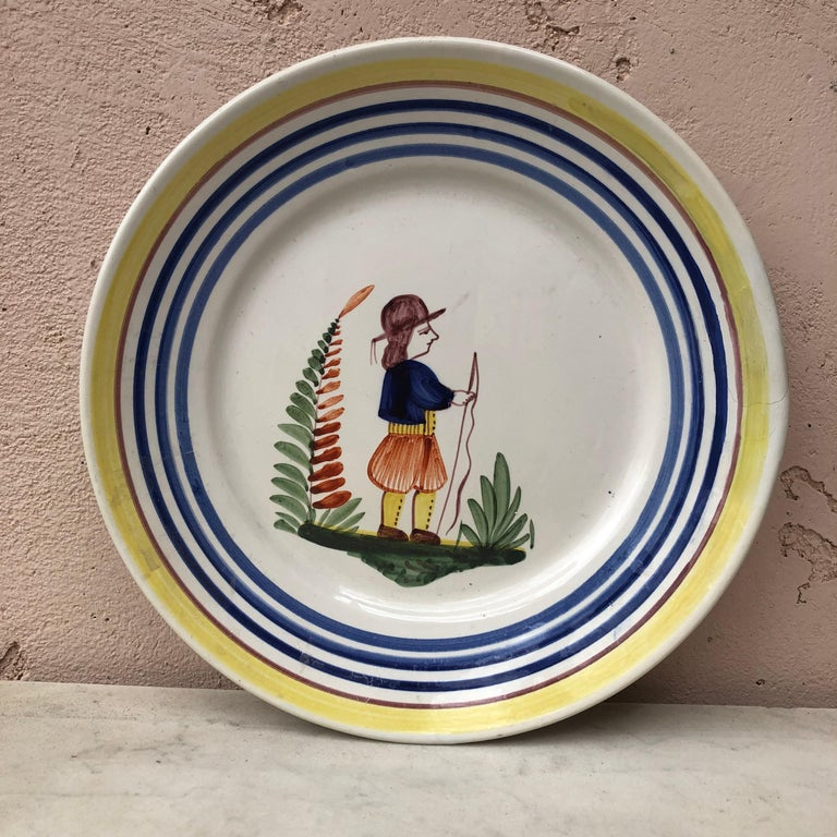 French Faience Bird Plate Henriot Quimper, circa 1930 For Sale 2