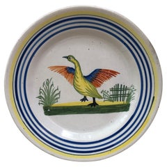 French Faience Bird Plate Henriot Quimper, circa 1930