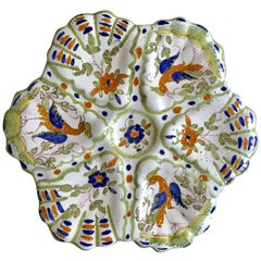 French Faience Birds Oyster Plate Circa 1940