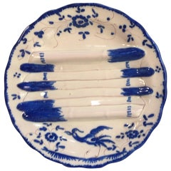 French Faience Blue and White Asparagus Plate, circa 1920