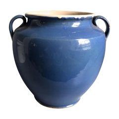 French Faience Confit Pot, Blue Glaze, 19th Century