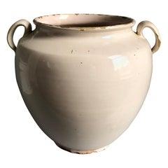 French Faience Confit Pot, White Glaze