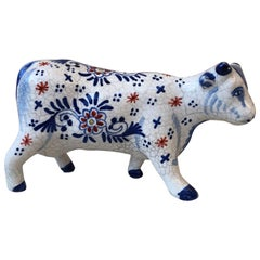 French Faience Cow Desvres, circa 1910