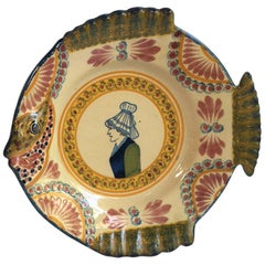 French Faience Fish Head Plate Henriot Quimper, circa 1940