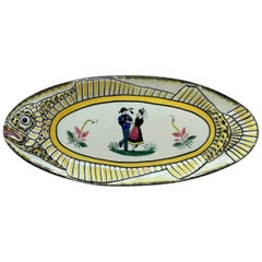 French Faience Fish Platter Henriot Quimper, circa 1940