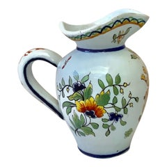 French Faience Floral Pitcher with Coat of Arm Desvres, circa 1900