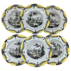 French Faïence Hand Painted Romantic Courtship Grisaille & Cirage Plates, S/6