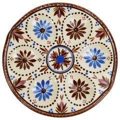 French Faience HB Quimper Oyster or Egg Serving Plate in Red and Blue, France