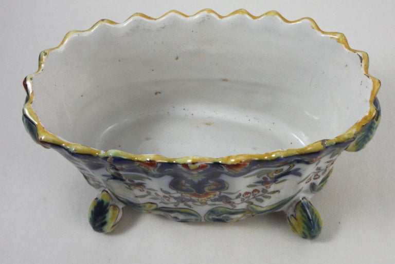 French faience jardinière with floral pattern Desvres, circa 1900. Signed