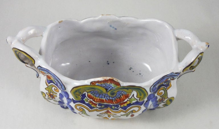 French Desvres faience jardinière painted with flowers, circa 1900. Marked on base. Minor wear.