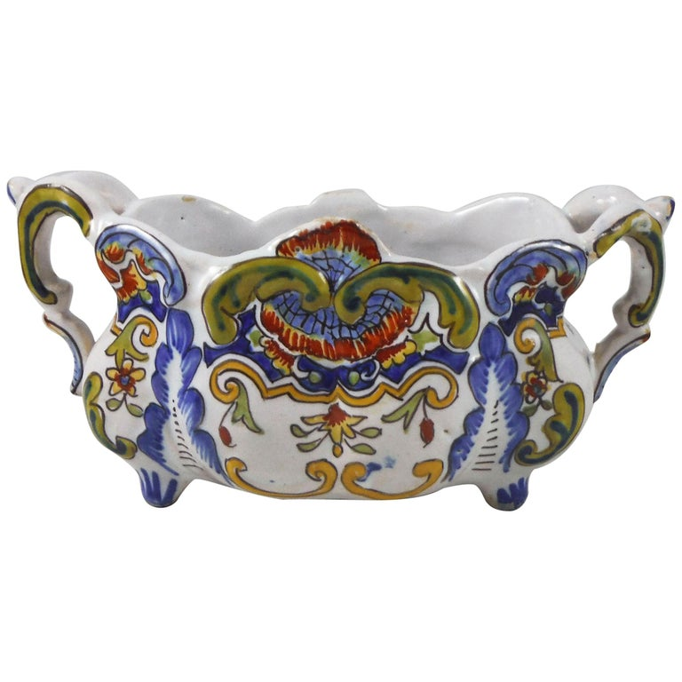 French Faience Jardiniere Desvres, circa 1900 For Sale