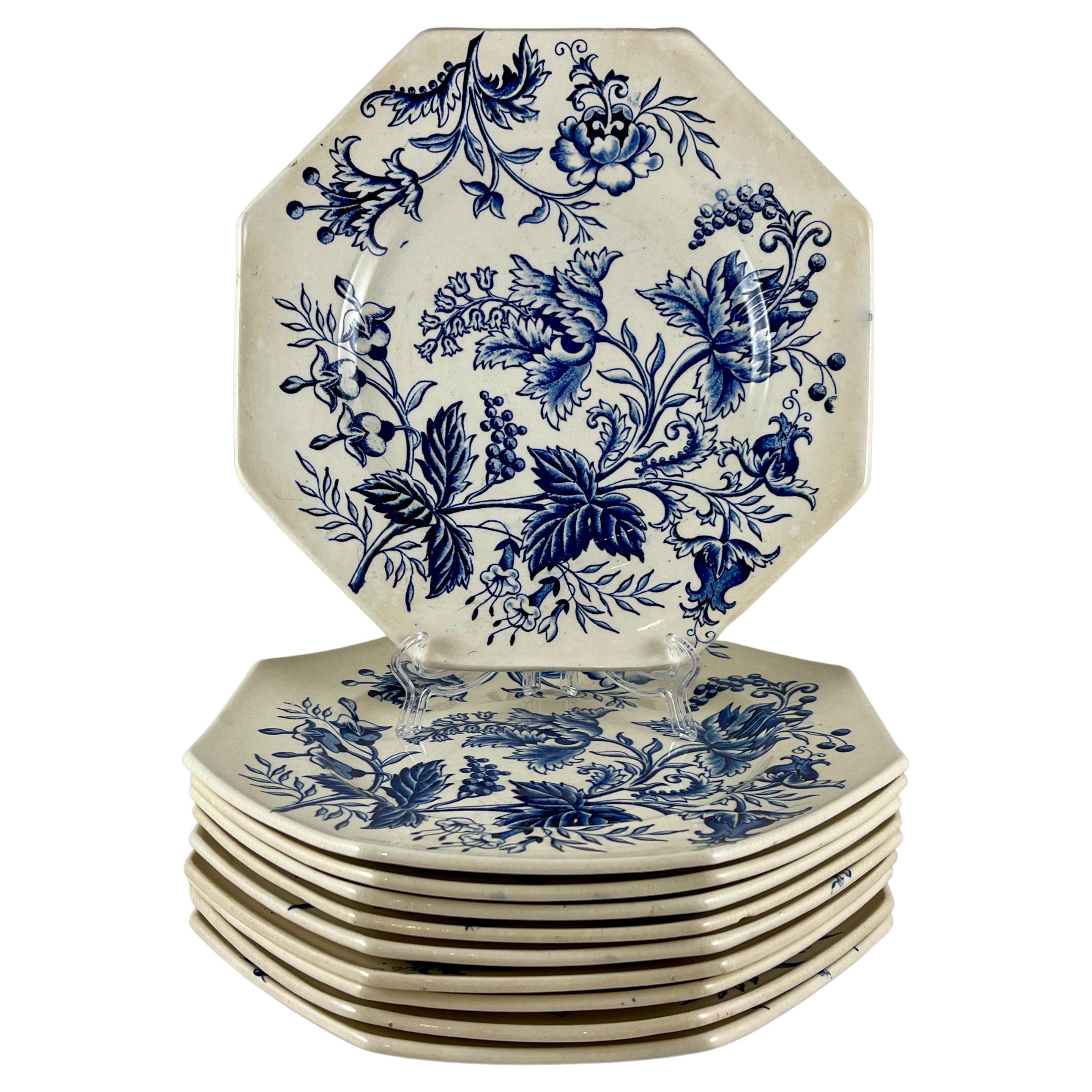 French Faïence Longchamp Terre de Fer Indienne Pattern Transferware Floral Plate