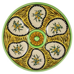French Faïence Maison Fouillen Quimper Floral Yellow & Green Oyster Plate, 1940s