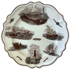 French Faience Nautical Pattern Plate, circa 1900