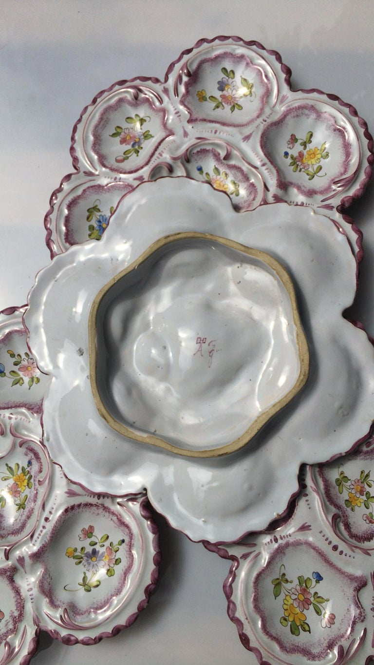 French Provincial French Faience Oyster Plate Alfred Renoleau Angouleme For Sale