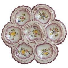 French Faience Oyster Plate Alfred Renoleau Angouleme