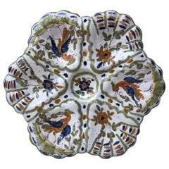 French Faience Oyster Plate Moustiers Style, circa 1940
