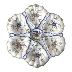 French Faience Oyster Plate with Bird Moustiers Style