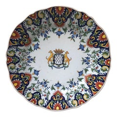 French Faience Plate Fourmaintraux Desvres, circa 1890