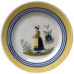 French Faience Plate Henriot Quimper, circa 1930