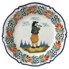 French Faience Plate Henriot Quimper, circa 1940