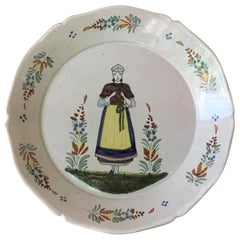 French Faience Plate Quimper, circa 1880