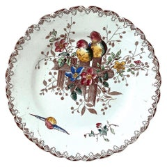 French Faience Plate with Birds and Flowers Onnaing, circa 1900