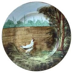 French Faience Plate with Hen Choisy Le Roi, circa 1890