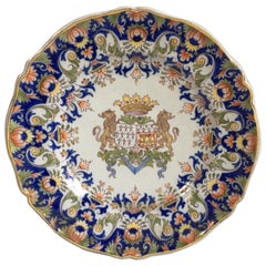 French Faience Platter Fourmaintraux Desvres, circa 1890